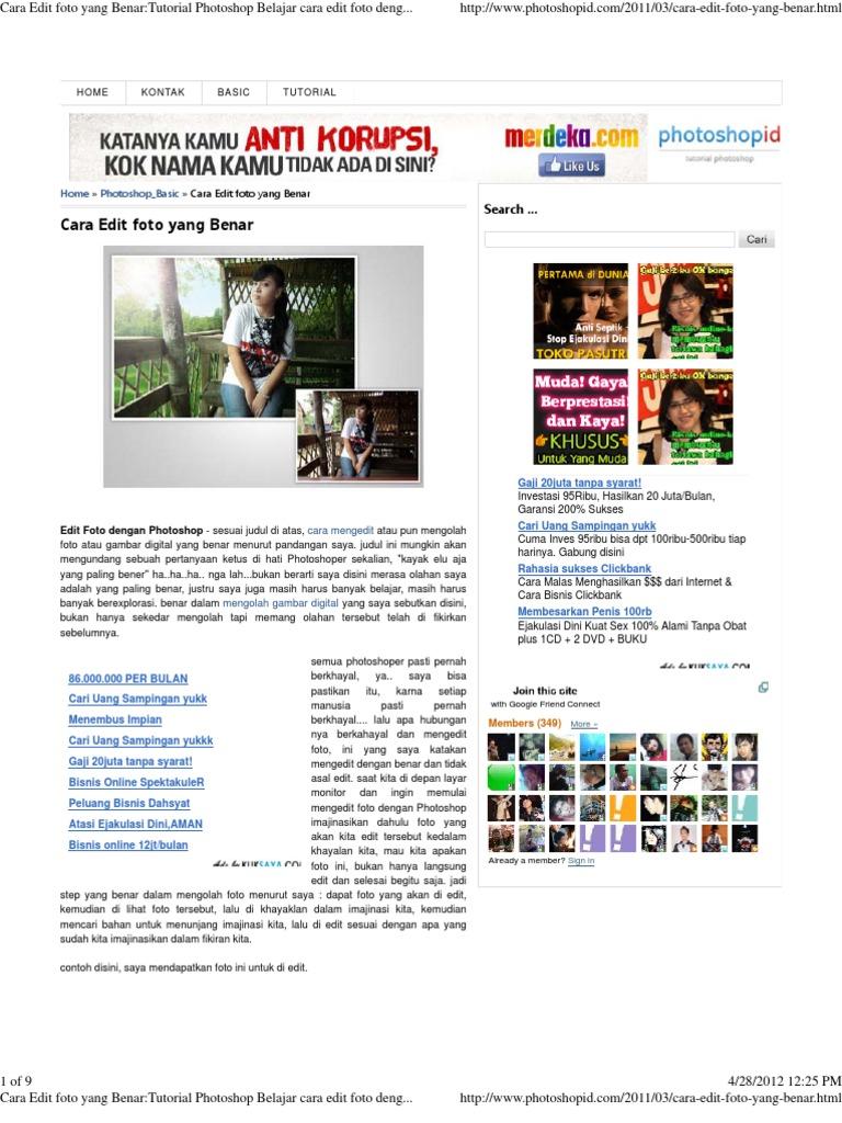 Cara Edit Foto Yang Benar_Tutorial Photoshop Belajar Cara ...