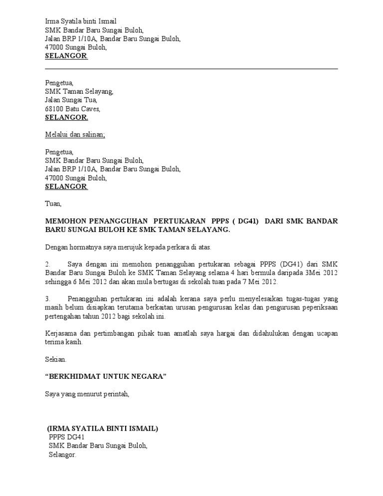 Contoh Surat Rasmi Permohonan Penangguhan Lapor Diri