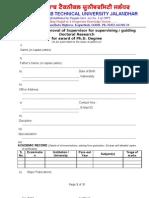 Approval Form for Supervisor or Co-Supervisor