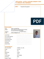 Application Letter & Resume Summary Form PT.hankook Tire Indonesia