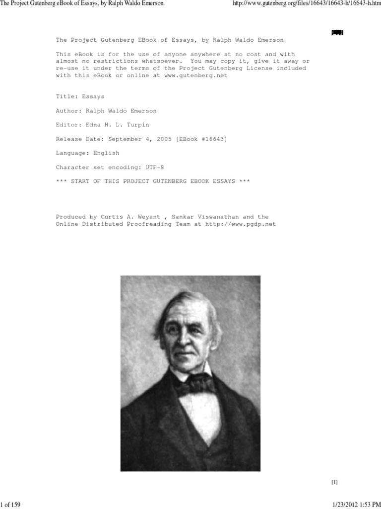 The project gutenberg ebook of essays by ralph waldo emerson the project gutenberg ebook of essays by ralph waldo emerson ralph waldo emerson thomas carlyle fandeluxe Images