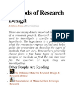 Methods of Research Design