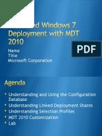 Advanced Windows 7 Deployment With MDT 2010