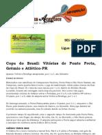 Copa do Brasil Vitórias de Ponte Preta, Grêmio e Atlético-PR