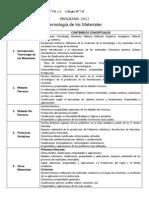 Programa Tec Materiales 724 2012