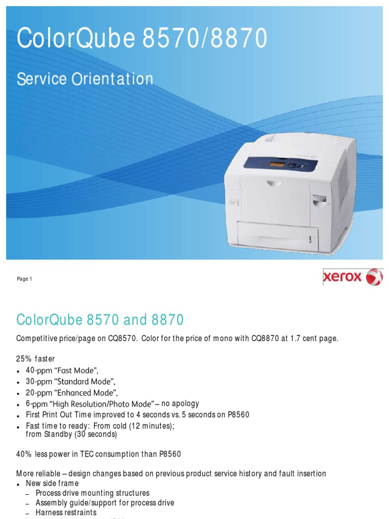 colorqube 8570 and 8870 service orientation printer computing rh es scribd com ColorQube 8570 Supplies xerox 8570 service manual pdf