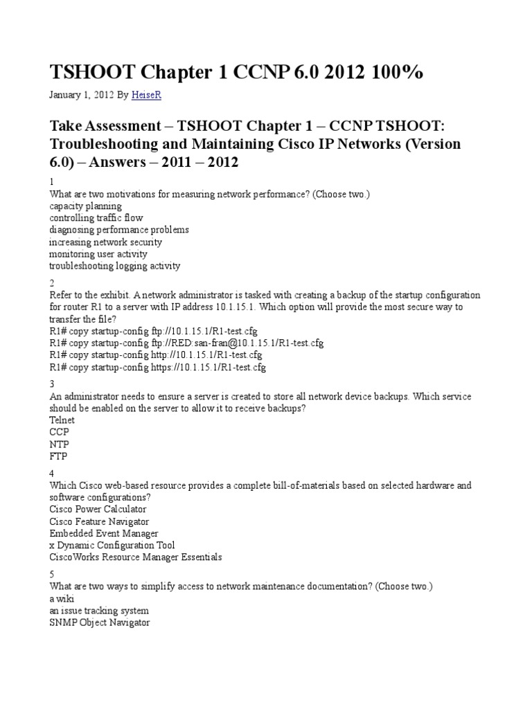 Tshoot Chapter 1 Ccnp 6 Test | Computer Network | File Transfer Protocol