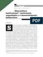 Além da Monocultura Institucional - instituicoes capacidades e desenvolvimentos deliberativo