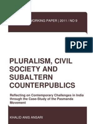 PWP No 9 Pluralism, Civil Society and Subaltern