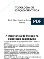METODOLOGIA DE INVESTIGAÇÃO CIENTÍFICA