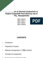 Enhancement of Thermal Conductivity of Engine Coolant(HP Kool Gard )