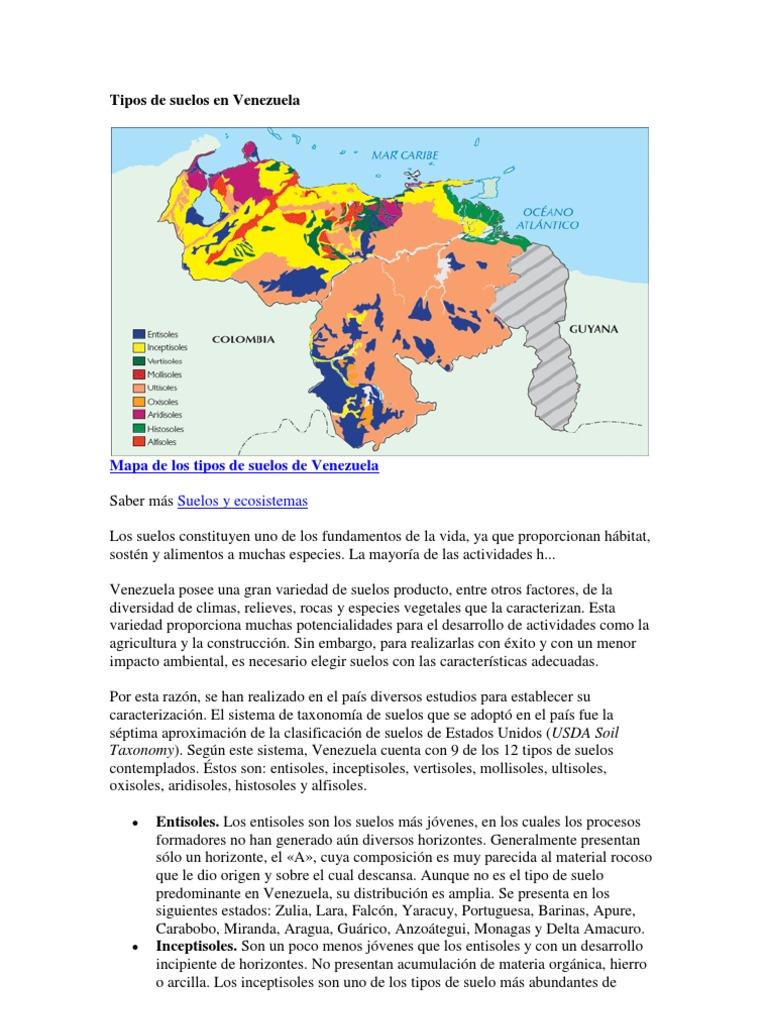 Tipos de suelos en venezuela for Como estan formados los suelos