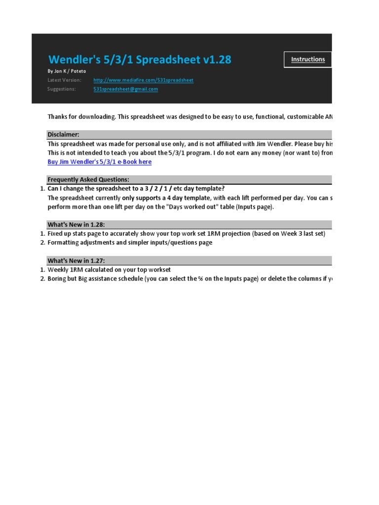 Copy Of Wendler 5 3 1 V128 Spreadsheet Sports