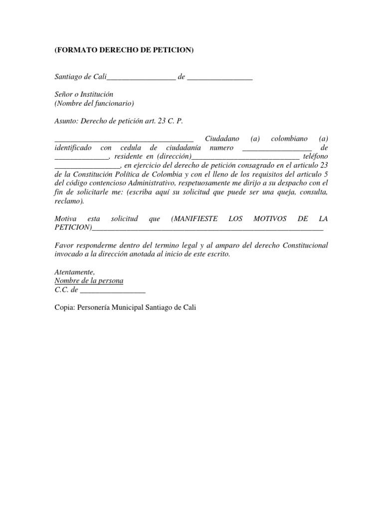 Formato Derecho de Peticion