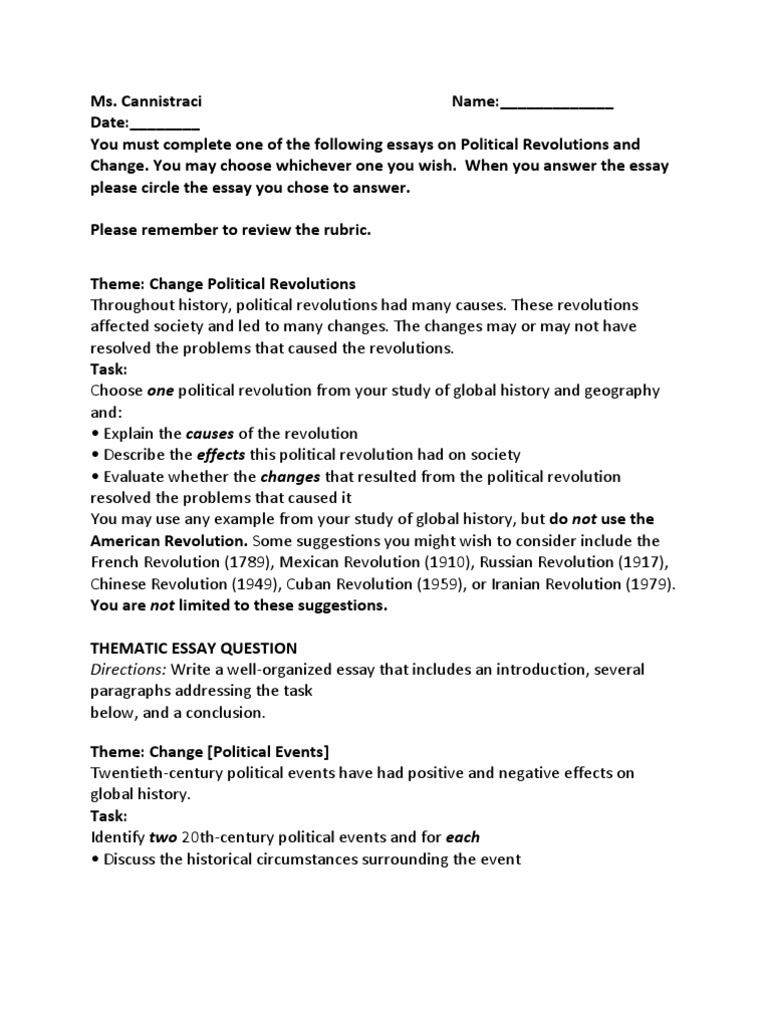 thematic essay question political revolution and change thematic essay question political revolution and change revolutions world history