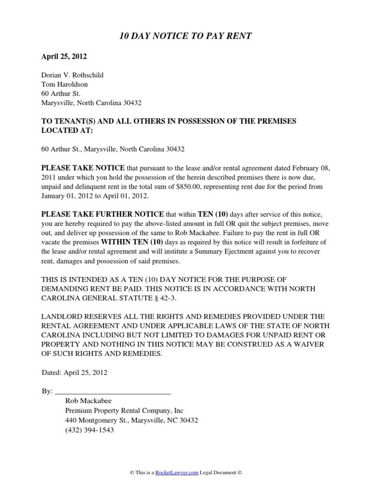 North Carolina Eviction Notice