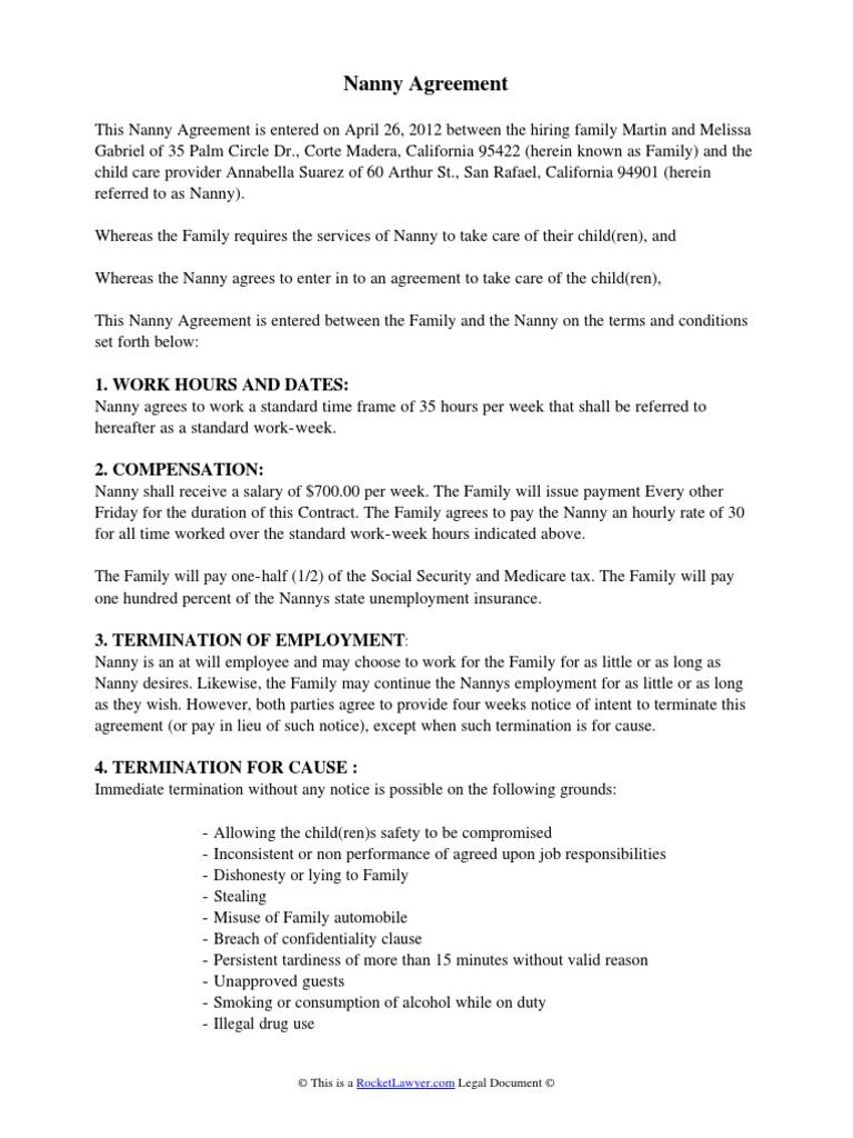 Nanny Agreement | Sick Leave | Nanny