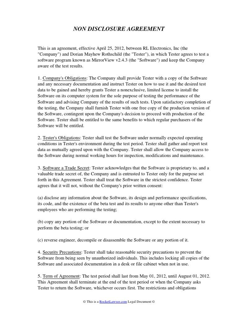 Non Disclosure Agreement Beta Tester Private Law