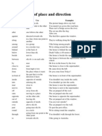 Prepositions of Place and Direction