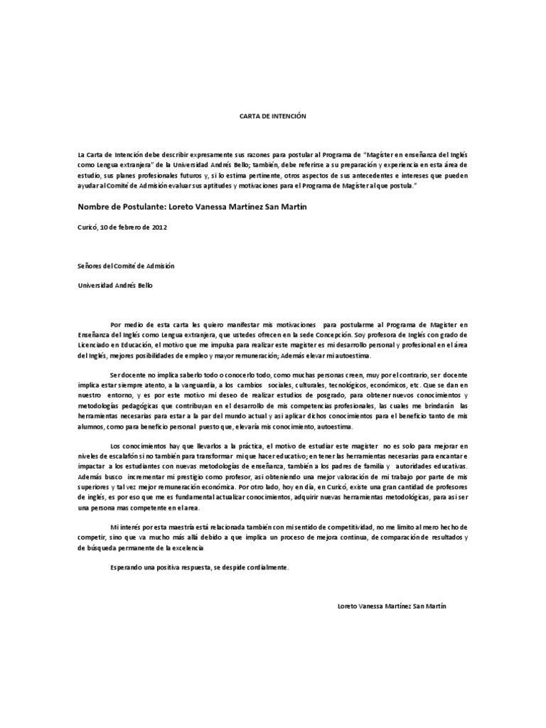 Carta de Intención