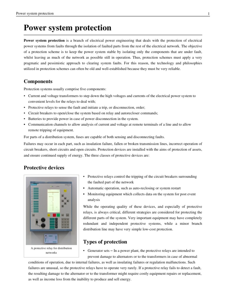 Power System Protection Electrical Engineering Nature Short Circuit Relay Of Generators Against