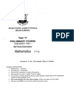 Mathematics - Prelim Task 1 H Yrly - 2006