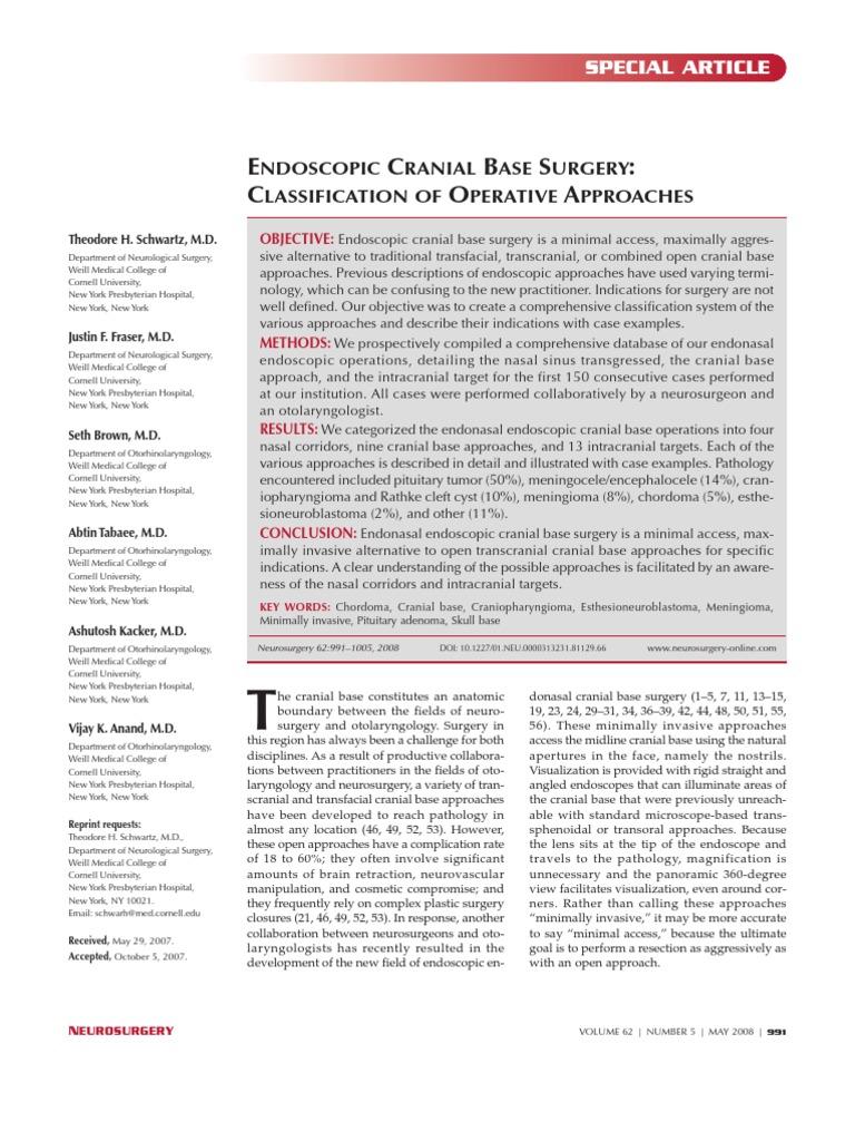 Endoscopic Cranial Base Surgery - Classification of Operative