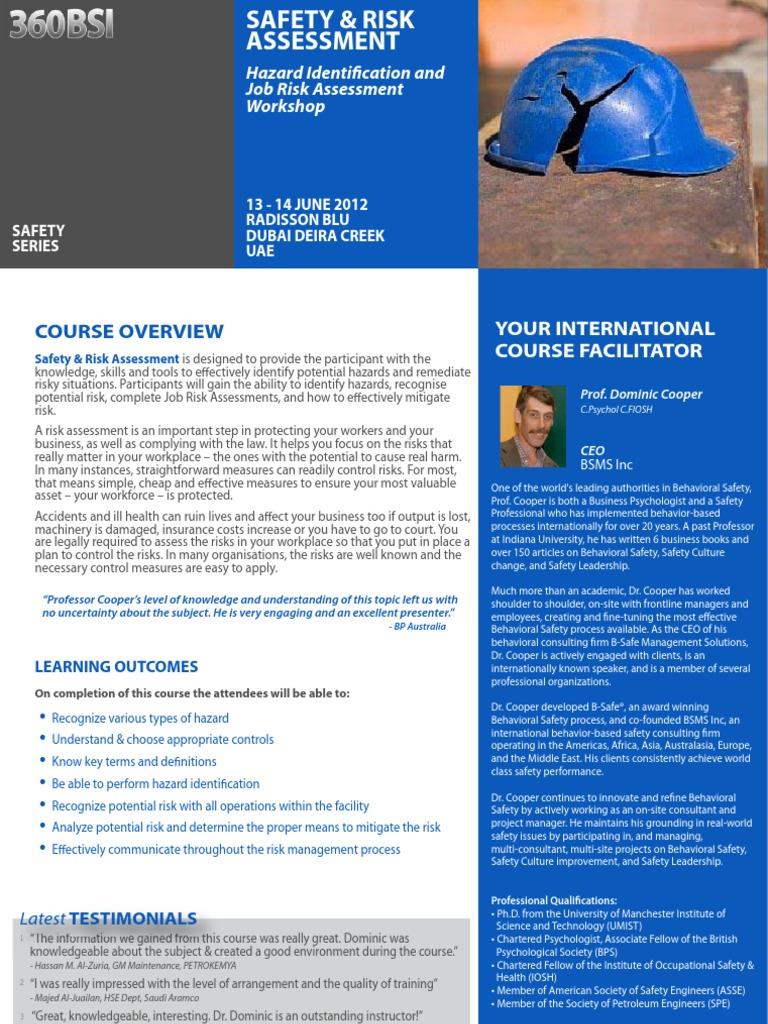Safety & Risk Assessment 13 - 14 June 2012 Dubai, UAE | Risk | Risk