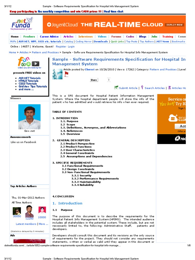 Sample - Software Requirements Specification for Hospital