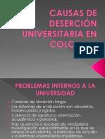 CAUSAS DE DESERCIÓN UNIVERSITARIA EN COLOMBIA