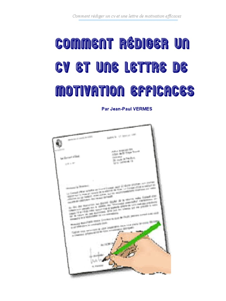 comment rediger cv et lettres de motivation