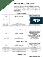 Executive Budget Schedule 2012