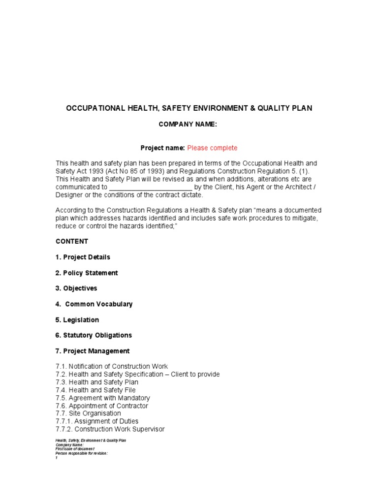 Health and Safety Plan Template | Occupational Safety And Health ...