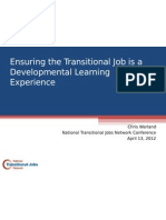 Ensuring Transitional Jobs is Developmental