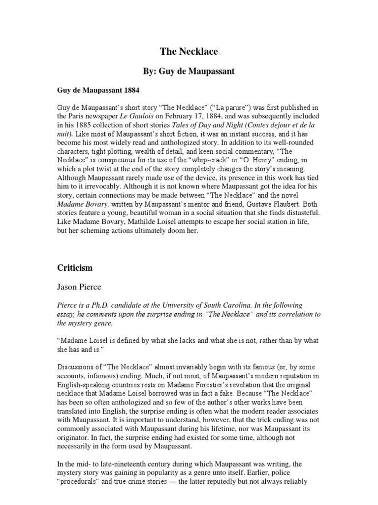 "a literary comparison of the necklace and the proposal essay Guy de maupassants short story ""the necklace was first published in  dissertation proposal  the short story the necklace english literature essay print."