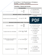 Física Capitulo 2 Halliday - Formulas