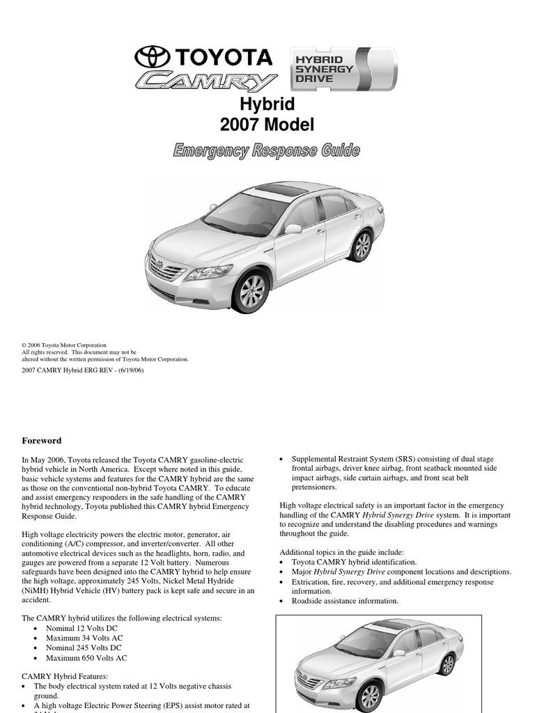 5 toyota camry hev erg airbag hybrid electric vehicle rh scribd com Crisis Response Guide toyota camry hybrid emergency response guide