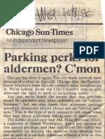 1986 - Oct 8 - Sun-Times - Parking Perks for Alderman, C'Mon - Orr