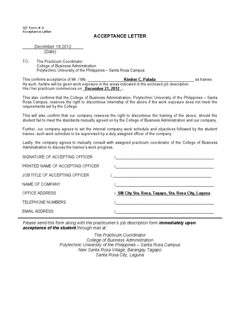 Acceptance Letter Sample Ojt