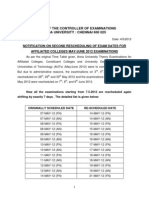 Second Rescheduling of Anna University UG/PG may/june 2012 exam