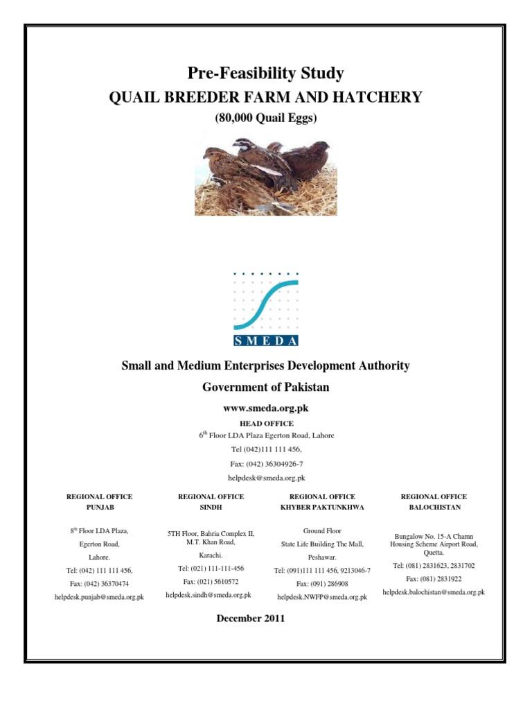 SMEDA Quail Breeder Farm and Hatchery (80,000 Quail Eggs