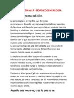 INTRODUCCIÓN A LA  BIOPSICOGENEALOGÍA -3 edición