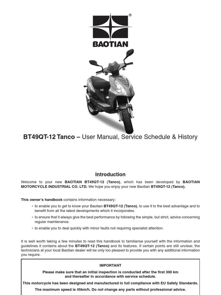 baotian bt49qt 12 tanco 50 user manual brake tire. Black Bedroom Furniture Sets. Home Design Ideas