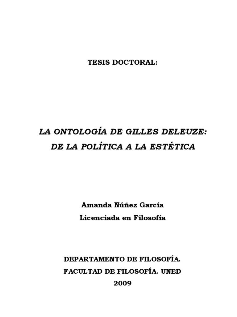 Amanda Núñez García - La ontología de Gilles Deleuze: de la estética ...