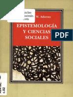 Adorno, Theodor- Epistemología y ciencias sociales