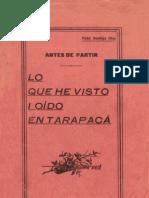 Antes de partir. Lo que he visto i oido en Tarapacá. (1913)