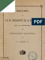 Discurso de S.E. el Presidente de la República en la apertura del Congreso Nacional de 1890. (1890)