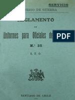Ejército de Chile. Reglamento de uniformes para oficiales del Ejército. (1919)