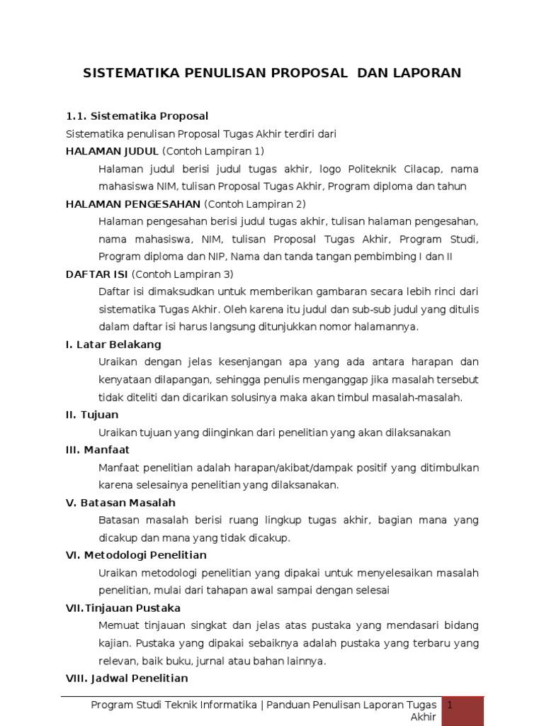 Sistematika Penulisan Proposal Dan Laporan Tugas Akhir