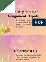 B4 Lipids Lidia, Kate C, Nadege, Nidah, Athina, Nikki